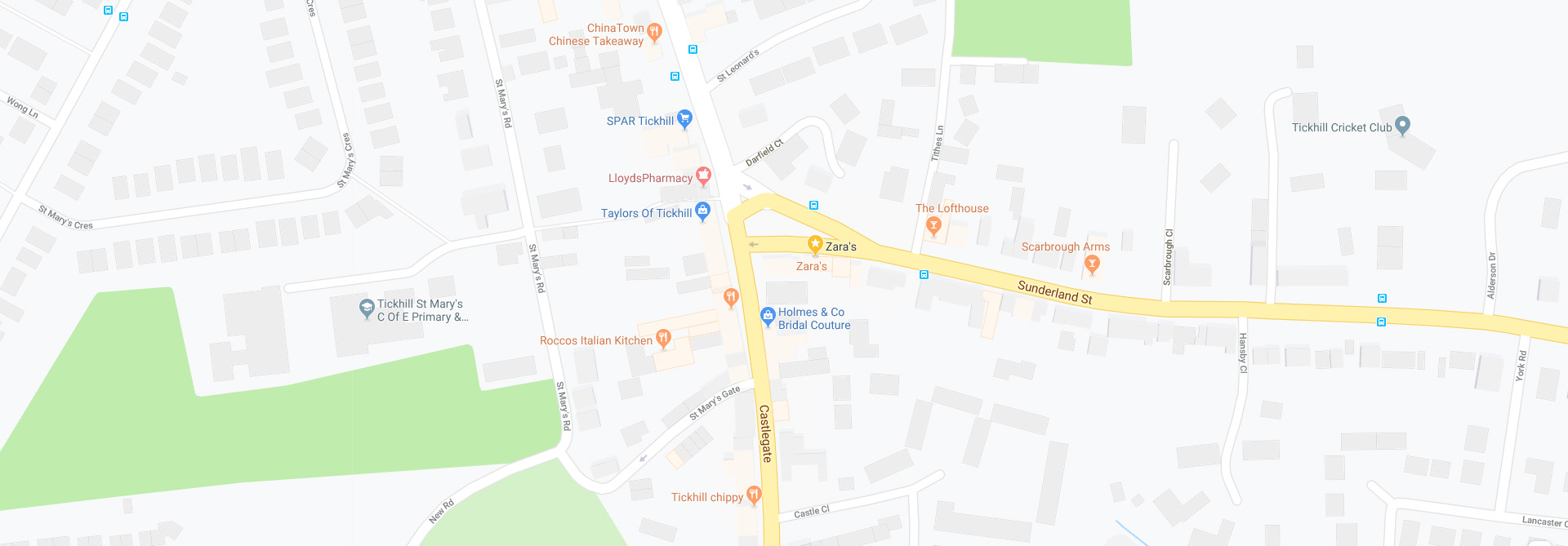 Location Map for Zaras Restaurant in Tickhill, Doncaster